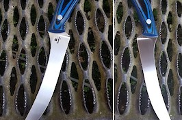 A custom fishing/fillet knife made from the infamous Nitrobe77 steel for extreme corrosion resistance, with black/blue G10 handle scales